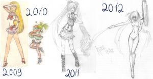 timeline 2009-2012  (sketches) by kuro-itami