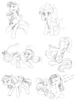 Ponies Playing Wii sketches by dstears