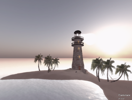 Lighthouse on a lonely beach by TalieTramontane