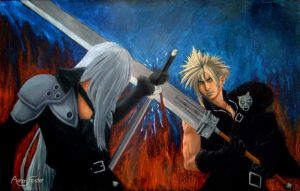 Cloud and Sephiroth by Adyon