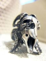 My hand made silver goat skull ring Baphomet by germy87