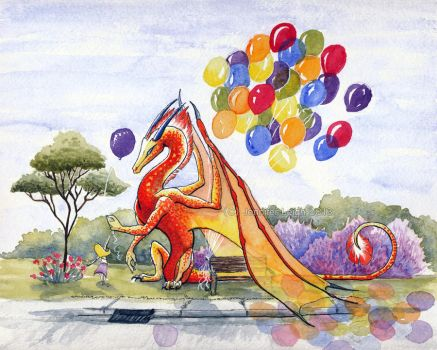 Balloon Dragon - Watercolor by jennyleigh