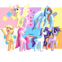 A Minor Variation Mane 6 by Etiluos
