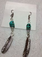 Turquoise feather skull earrings by AestheticSaturn