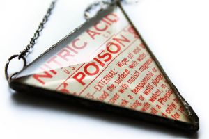 Nitric Acid Poison Soldered Glass Label Necklace by asunder