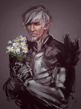 Fenris with Bloodroot Flowers by gravitybeams