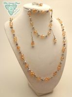 Peach and Silver Set by TheSortedBead