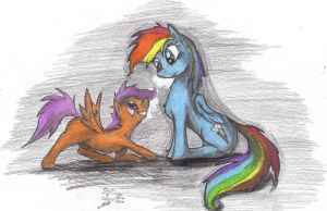 Scootaloo and Ranbowdash by goina