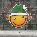 Graffiti Smiley: Xmas Elf (on the wall) by mondspeer