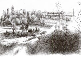 Drawing of Hermitage park by nicolasjolly