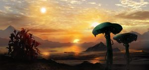 Sunrise On Gliese 570AB by dustycrosley