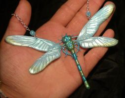 Opalescent Dragonfly - handmade Necklace by Ganjamira