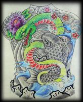 Japanese backpiece design by WildThingsTattoo