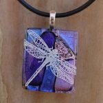 Purple Dragonfly Collage Glass by FusedElegance