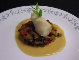 Halibut with ratatouille by HeartBreakEmoKid