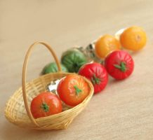 Tomato Stud Earrings by fairchildart
