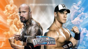 WWE The Rock vs John Cena Widescreen Wallpaper by Timetravel6000v2