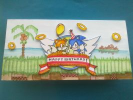 Handmade Sonic The Hedgehog Birthday Card Front by PossumPip-Creations