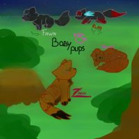 Baby pups (FeralHearts characters) by JuliaDragonStone