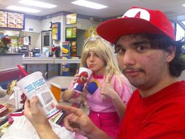 Mario and Peach in Burger King by Psycho-of-Time