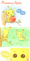Pikachu's apple comic by peachykit