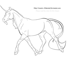 Unicorn Lineart - Free to DA by Amaris--Miakoda