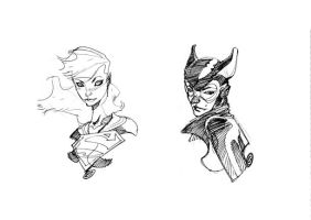 SUPERGIRL and CATWOMAN by EricCanete