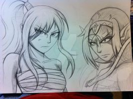 Erza and Laurada Crossover WIP by Primogenitor34