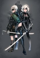 NieR: Automata -2B and 9S by anonamos701