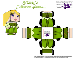 Disney Princess Aurora Cubeecraft Green Dress PT 2 by SKGaleana
