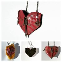 Leather and Chain Heart Pouch Necklace by RamsEyeSupply