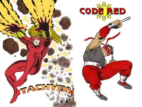 Tachyon and Code Red by Dsherburne by LegacyHeroComics