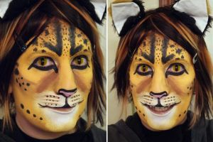 Savannah Cat makeup practice #1 by toberkitty
