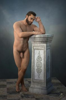academic nude on column by JOSEGEE12