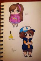 Mabel and Dipper (w/ Bill) by joannawentbananas