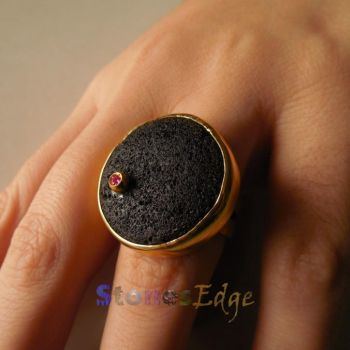 Volcanic Rock Ring with inserted synthetic Ruby by StonesEdge