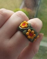 Polymer Clay Autumn Flower Ring by DruidOfTheValeDesign