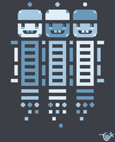 Acorn Rocket Bots Blue by knitetgantt