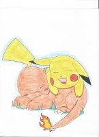 Request: Sleepy Pikachu and Charmander by RegiGirl1218