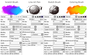 SAI Digital Art Tips || 1# Costumised Brushes by snouken