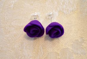 Purple Rose Earrings II by OrchestratedChaos