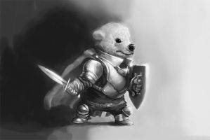 Polar bear cub warrior by ScathSiorai