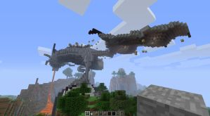 Dragons Landing Minecraft Sculpture by Black-Feather