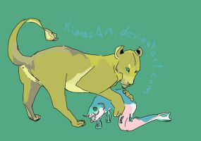 lioness with fish by KIARAsART