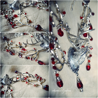 Deer Necklace silver and red II by Verope