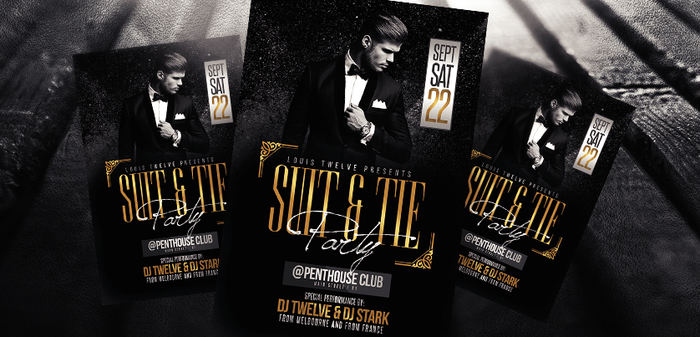 Suit and Tie Party Flyer Template by LouisTwelve-Design