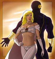 Emma Frost + Cyclops by StefanoMarinetti