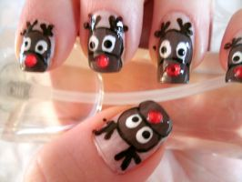 Rudolph Nails by Animalluver1985