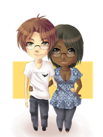 I and my love in chibi version :3~ by Line-arts