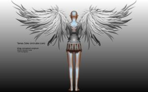 Wings conceptual sculpture - Back by Artruder